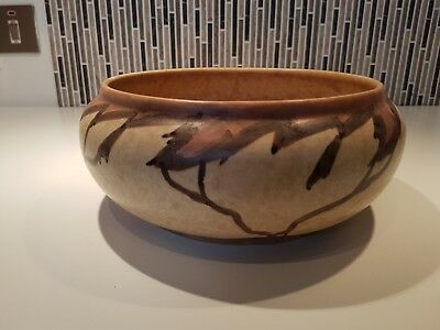 "CLEWS CHAMELEON WARE  BOWL 10"" Brown / beige hand painted with tree design"