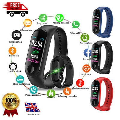 M3 Plus Bluetooth Smart Watch Fitness Tracker Bracelet Heart Rate Steps UK