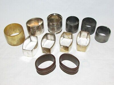 (12) Vintage Napkin Ring Holders Silver Plate Victorian Wood French Cow Horn