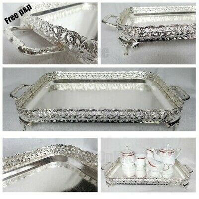 Silver Large Rectangle Stainless Steel 40cm Serving Tray Handles Tea Tray Indian