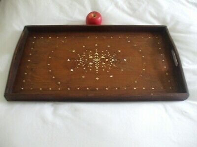 Antique Anglo Indian Inlaid Wooden Serving / Tea Tray Ornate Design