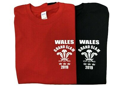 WALES GRAND SLAM 2019 T SHIRT  (with Scores, Welsh, Triple Crown)