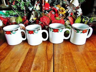 4 NEW OTHER(old stock) CHRISTMAS TIENSHAN DECK THE HALLS LARGE MUGS W/BOX