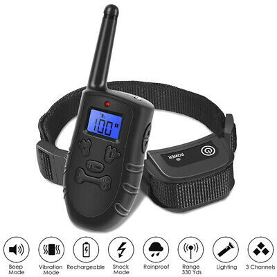 Waterproof LCD Electric Remote Dog Shock Bark Collar Trainer Training FF