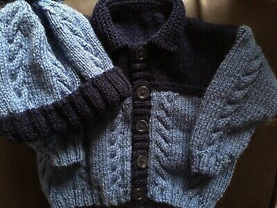 Hand Knitted Boys Aran Cardigan And Hat For 3-6 Months