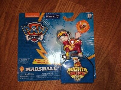 Paw Patrol MARSHALL Light Up Badge/Paws Figure Mighty Pups Walmart Exclusive NEW