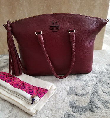 bfa4a1542082 NWT Tory Burch Taylor Satchel Handbag Shoulder Leather Burgundy Imperial  Garnet