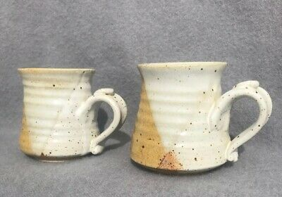 Vintage Pottery Stoneware Hand Made Mugs Signed Set of 2 HAND CRAFTED