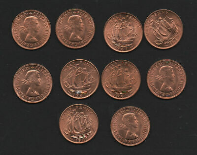 GB 1967 Half penny coins x 10 in superb un-circulated condition full lustre fine