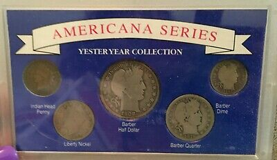 Americana Series Yesteryear Collection Barber Half Quarter Dime 5 Coin Set