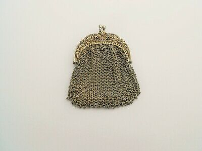 Victorian Sterling Silver Mesh Purse Antique Chatelaine Wallet Griffin Chimera