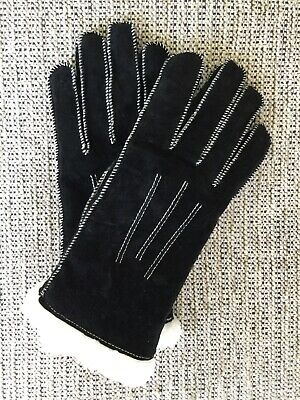 Women suede leather black gloves size L (8) Italian style 424M1