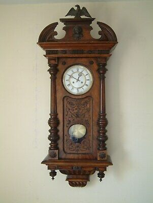 Antique spring driven wall clock, full working order, new Silva movement 2007