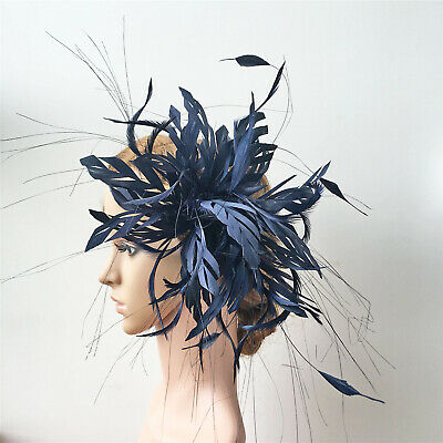Goose Biot Twisted Mount Stripped Coque Feather Peacock Millinery Hat Fascinator