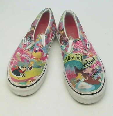 78dce62d8b Vans Disney Alice In Wonderland Classic Slip On Shoes Skateboard Wm Sz 5  Men 3.5