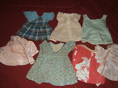 8 VINTAGE HANDMADE DOLL CLOTHES 1950s-FOR MEDIUM TO LARGE DOLL