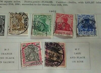 1902 Germany lot of 6 stamps hinged on page - 3,5,10,20,40 & 50 pf