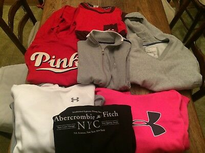 USED 7 pc LOT Womens SMALL - LARGE S L Hoodies Tops PINK ABERCROMBIE AERO POLO