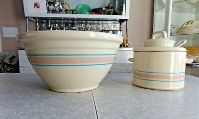 """EARLY VINTAGE McCOY POTTERY 4 PC.BANDED 14"""" MIXING BOWL & SOUP TUREEN with LADLE"""