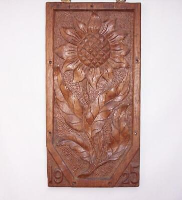 Vintage 1925 ART DECO Hand Carved SUNFLOWER Wooden OAK WOOD PANEL