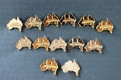 25 x Australian Made 24k Gold Plated Aussie Map Hat/Lapel Pins Loose Bulk