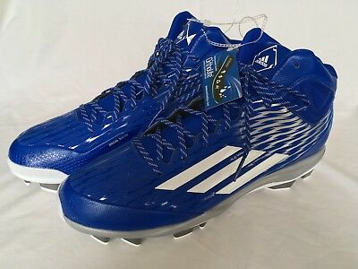 01d10095f154 ADIDAS POWER ALLEY 5 Mid Metal Baseball Cleats Royal Blue Silver SZ ...
