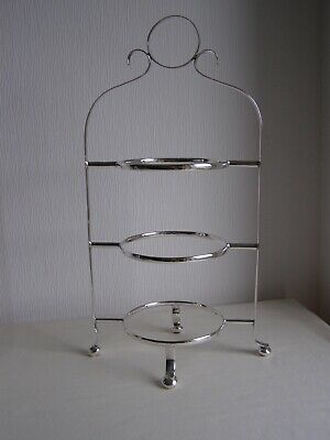 Art Deco 3-tier silver plated cake stand on 4 ball feet - made in England EPNS