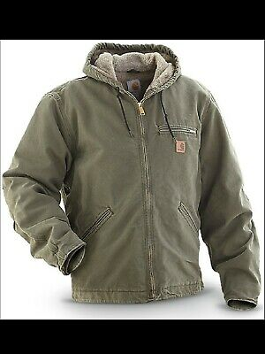 cb2aaad0dab95 CARHARTT Men's Quilted Flannel Lined Sandstone Active Jacket ARMY GREEN  Size:L