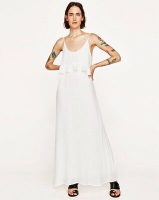 ZARA White Long Maxi Strappy Dress with Frill at the Front M BNWT