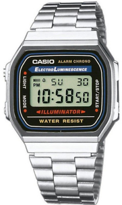 Casio Watch Retro Digital Unisex A168WA-1W Alarm Illuminator A168
