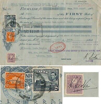Japan - Malta 1938, Bill Of Exchange With Mixed Franking Revenues #z172