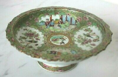 Antique 19th Century Chinese Canton Famille Rose Figure Pedestal Compote Bowl