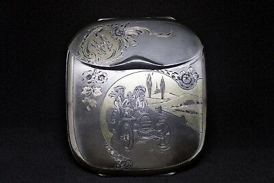 c.1910 SILVER CIGARETTE CASE WITH GOLD DETAILS AND MOTORING MOTIF