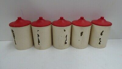 5 Art Deco Bakelite Spice Canister Set Vintage Retro Kitchen Kitchenalia