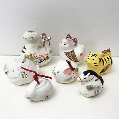 SET OF 7 Japanese Traditional Ornament Clay 7 Zodiac Animals Folk Art Bell  Lucky