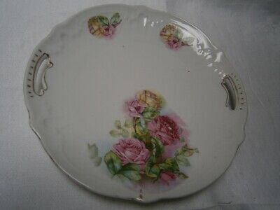 ANTIQUE ROSE DESIGN PORCELAIN CAKE PLATE WITH HANDLES circ late 1800's