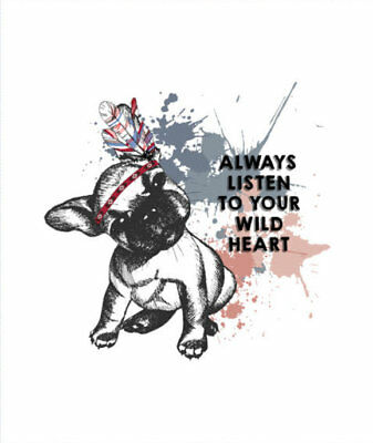 Sweat Sommersweat Panel Bulldogge Wild Crazy Guy 42x50 cm Stoff