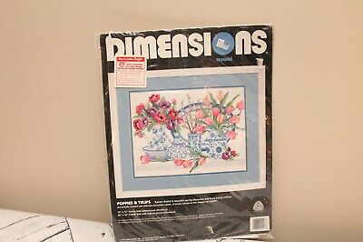 New Dimensions Crewel Embroidery Poppies & Tulips Kit 1427 Karen Avery