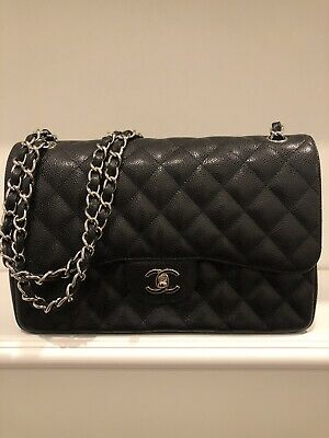4466265ac8b8 Chanel Classic Double Flap Handbag in Jumbo Black Caviar with Silver  Hardware