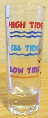 Pre-Owned High Tide Ebb Tide Low Tide Clear Double Shot Glass