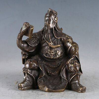 Chinese Exquisite Copper Guan Yu Statue Made By The Royal Daqing HT0034