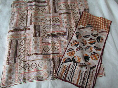 Silk Scarf Lot Lanvin Paris ECHO Vintage Geometric Primitive Abstract beige Brow