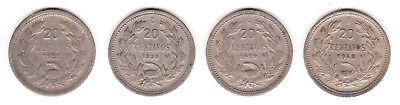 1932 1938 1939 & 1940 Chile 20 Centavos. 4 coin lot.