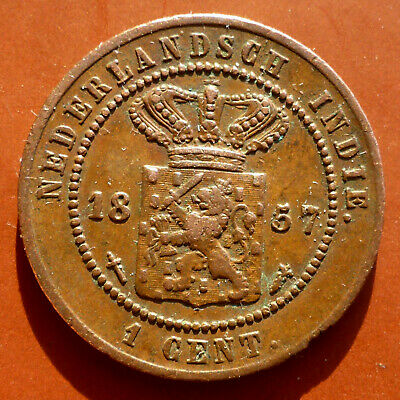 1857 Netherlands Indies 1 Cent 162 Years Old Historic Pre Indonesian Coin