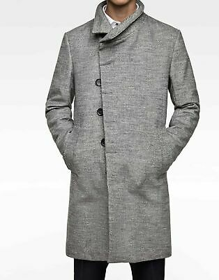 af0c4999 ZARA MAN LIGHT GREY FUNNEL COLLAR COAT REF.0706/353 New with Tags Sz