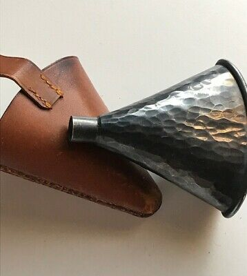 VINTAGE Antique Wine / Spirits hammered finished, travel / flask funnel?. W Case