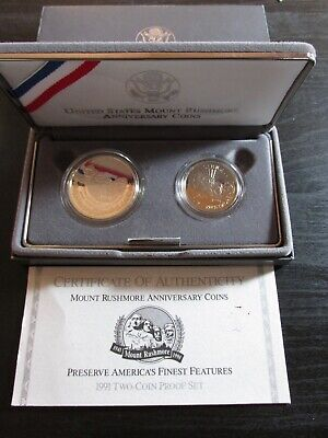 1991 Mount Rushmore Anniversary Two-Coin Silver Dollar Proof Set