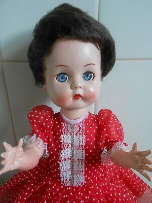 Antique Hard Plastic 'roddy' Girl Doll 16 Inch Dressed 1950's Vintage