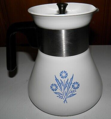 Corning Ware Blue Cornflower Stove Top 6 Cup Coffee Pot Teapot Kettle P-106 Euc