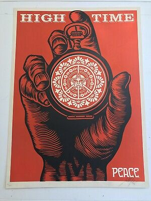 Shepard Fairey Signed High Time for Peace 2005 Print Poster Hope Obama Art Andre